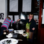 Cathy and Gill serving up the Irish stew